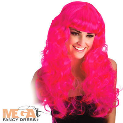 Neon Pink Curly Long Foxy Wig Ladies Fancy Dress 1980s Costume 80s Accessory New