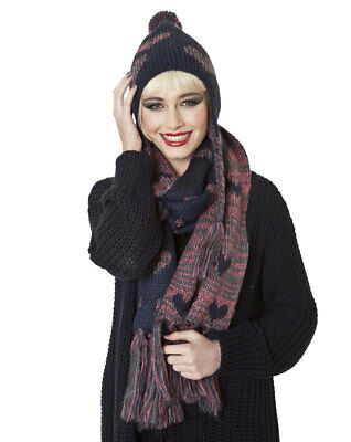 Ladies Fairisle Knit Fashion Winter Trapper Style Hat And Scarf Set