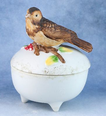 Vintage Porcelain Bird Handled Trinket Box