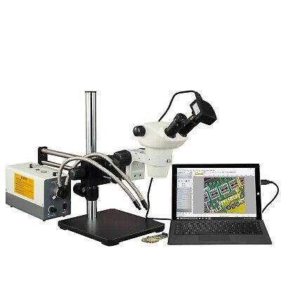 OMAX 3X-300X USB3 5MP Ball-Bearing Boom Zoom Stereo Microscope 150W Fiber Light