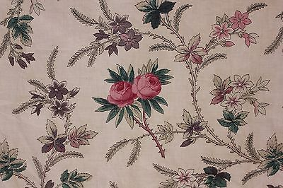 Antique French printed cotton early 1800's rose pattern pink ground.