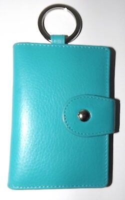 New Italia Leather Snap Key Case With Interior Clear Id Window Aqua
