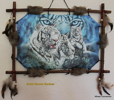 Indian Picture White Tiger Dream Catcher Mandella 22 x16 beads feathers Framed