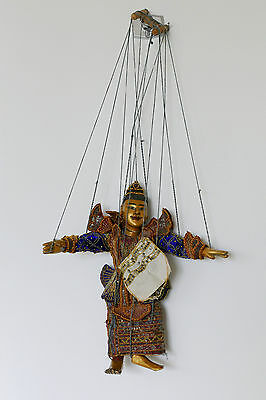 """Oriental Vintage Puppet Marionette Collectible Working 14"""" Burmese"""