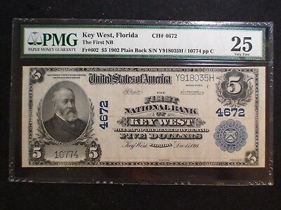 RARE 1902 First National Bank KEY WEST FLORIDA $5 Plain Back Note VF25  Fr # 602
