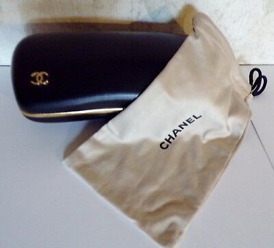 Chanel Black Leather Sunglasses Case & Dust Bag Gold Tone Trim and Emblem ITALY