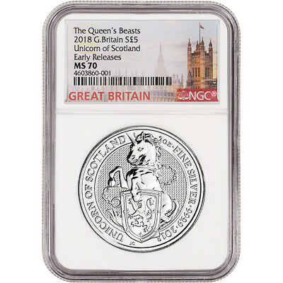 2018 Great Britain Silver Queen's Beasts Unicorn £5 - NGC MS70 Early Releases