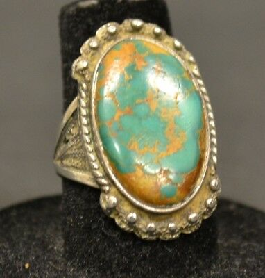 Vintage Native American Old Pawn Sterling Silver Turquoise Size 6.5 Ring
