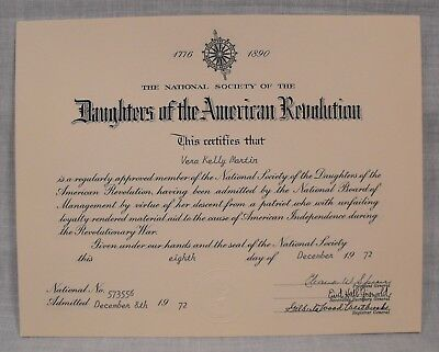 1972 National Society of the  Daughters of the American Revolution Certificate