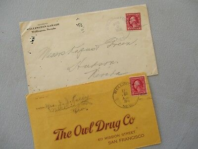 1916-22 (2) AWESOME GOODYEAR TIRE PICTURE Wellington,Nevada postmarked Covers!