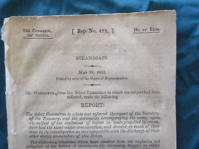 "1832 All about Steamboats,""House of Representatives""Printed 176 pg.,Booklet"