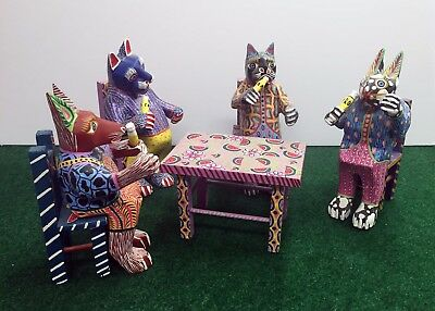Oaxacan Wood Carving 4 Cats around Table Oaxaca Mexico Mexican Xmas Sale &275.00