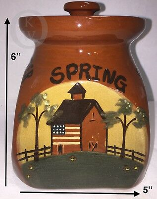 NOS*Eldreth Pottery* RED WARE*2007*HANDMADE*Seasons Small Canister *Folk Art *