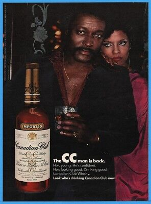 1977 Canadian Club Whiskey CC Man Young Confident African American Black Ad
