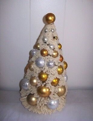 """10.5"""" Off-white Flocked Bottle Brush Tree with Silver & Gold Balls -Bethany Lowe"""