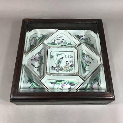 Antique Chinese Famille Rose Porcelain Sweetmeat Set in Hardwood and Glass Box
