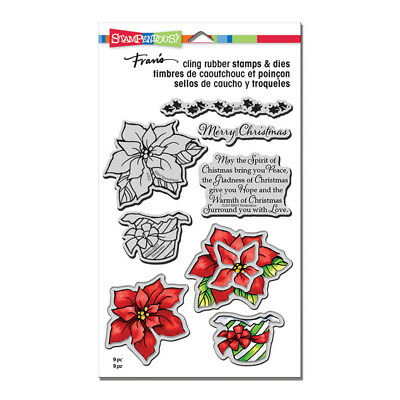 Stampendous Stamp & Dies Set - Wrapped Poinsettia, Merry Christmas, Holly Border