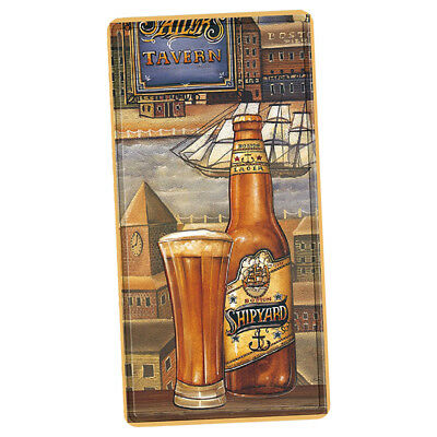 Vintage Style Metal Wall Sign Tin Plaque Kitchen Beer Glass and Bottle Decor