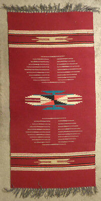 """Vintage New Mexico Chimayo Hand Woven Wool Rug - 18.5"""" x 37"""""""