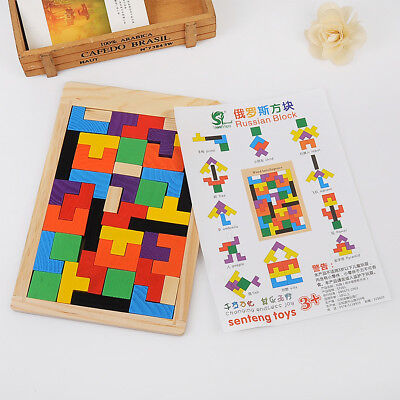 Wooden Tangram Jigsaw Tetris Puzzle Toy For Kids Children Educational Game Gift