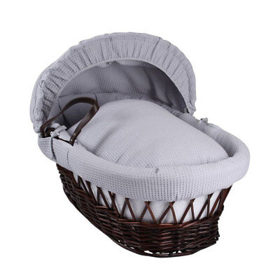 Clair de Lune Waffle Dark Wicker Moses Basket, Grey