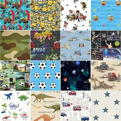 Kids Boys Wallpaper - Camouflage Stars Space Football Vehicles Clouds