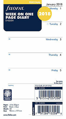 Filofax Personal Week on One Page 2018 Diary Refill Insert 18-68426