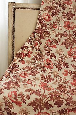 Antique French madder brown c1850-1860 printed fabric material old floral