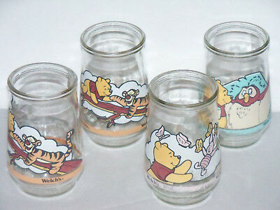 Vintage Lot of 4 Welch's Jelly Winnie the Pooh Glasses