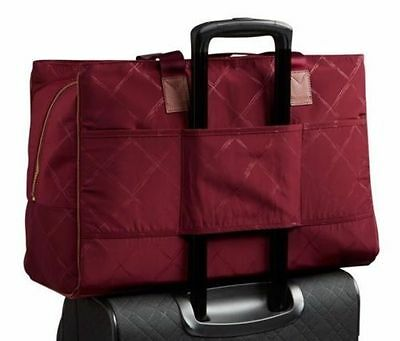 CLARET Preppy Poly Vera Bradley WEEKENDER TRAVEL Trolley Sleeve Carry On BAG NWT