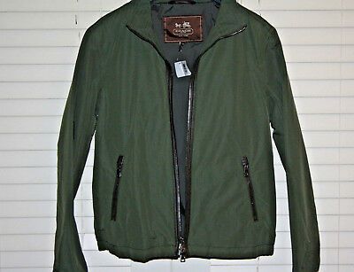 Authentic COACH Men's Nylon Racer Winter Lightweight Jacket Olive Medium-NWT