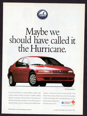 1996 PLYMOUTH Breeze Vintage Original Print AD - red car photo canadian ad