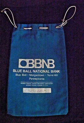 Nice Blue BBNB Blue Ball National Bank Drawer String Canvas Bank Bag