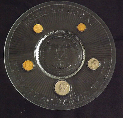 Nice Clear Glass United States of America 5 Different US Tender 1976 Coins Plate