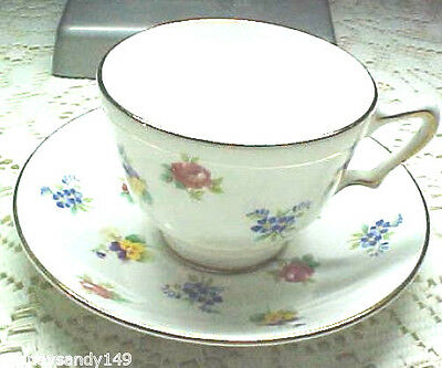 Beautiful Floral Bouquet Cup & Saucer Staffordshire England  China