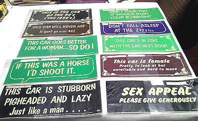 """10 Vintage  Bumper Stickers 1980's All Different Sayings 9"""" Long by 3 3/4"""" High"""