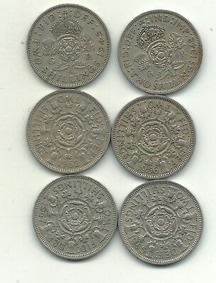Nice Lot 6 Great Britain 2 Shilling Coins-1948,1949,1956,1962,1963,1967-Nov17627