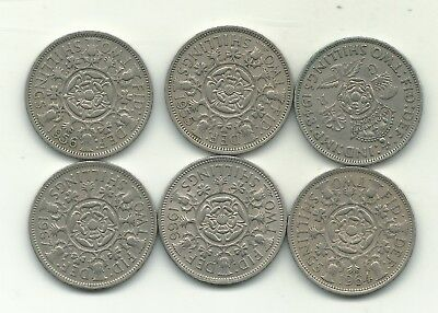 Nice Lot 6 Great Britain 2 Shilling Coins-1948,1955,1956,1964,1966,1967-Nov378