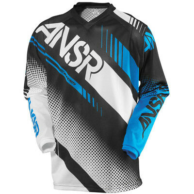 New Answer Youth Syncron Jersey MX ATV Black White Cyan