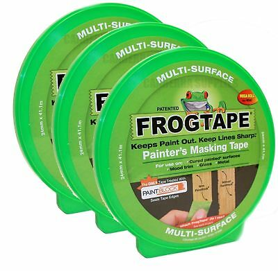 3 x FROG TAPE PAINTERS MASKING TAPE MULTI SURFACE - GREEN 24MM x 41.1M