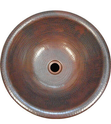 "15"" Round Copper Bath Sink Drop In or Self Rimming Your Choice of Drain"