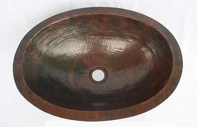 "19"" Oval Flat Edge Hand Hammered Copper Bathroom Sink in Dark Patina"