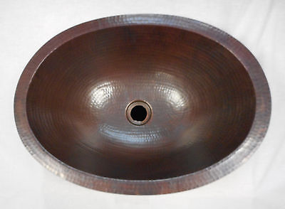 "19"" Oval Hammered Drop In or Undermount Copper Bath Sink"