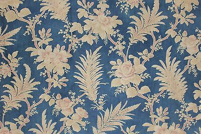 Antique Prussian blue printed linen cotton c 1870 faded French fabric w ruffle