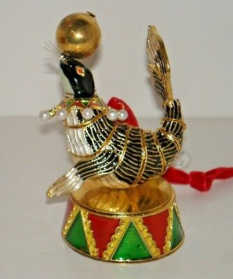 CIRCUS SEAL Cloisonne Christmas Ornament New in Gift Box with Tags $40