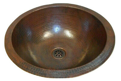 "SimplyCopper Rustic Round 15"" Copper Bath Sink Dual Mount Daisy Drain Included"