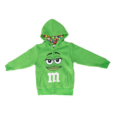 M&M's Zip up Youth Big Face Fleece Hoodie Sweatshirt Green