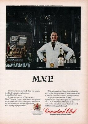 1971 Bartender MVP bar photo National Tavern Month Canadian Club CC vintage Ad