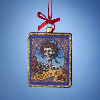 Grateful Dead Skeleton and Roses Logo Glass Christmas Ornament GD4142 Decoration