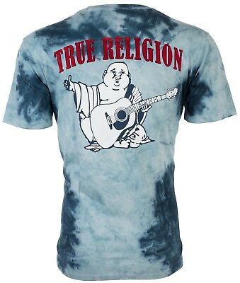 TRUE RELIGION Mens T-Shirt TIE DYE BUDDHA Ocean Waves Blue $79 Jeans NWT